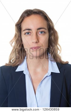 Passport photo of a cool blond businesswoman with blue eyes and blazer on an isolated white background for cut out