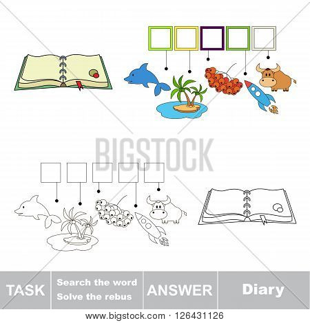 Vector rebus game for children. Find solution and write the hidden word Diary poster