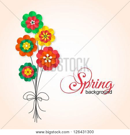 Spring Cutout Paper Flowers. Bouquet of Spring Flowers. Vector Bouquet. Template for greeting card, wedding invitation, anniversary celebration and birthday.