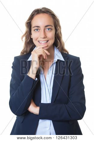 Laughing blond businesswoman with blue eyes and blazer on an isolated white background for cut out