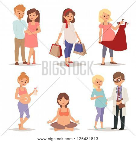 Young pregnant woman, pregnancy female belly expecting beautiful future mother character vector set.