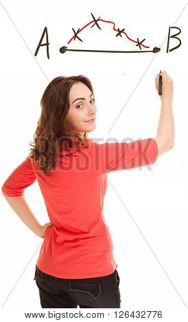 Picture of woman planning strategy isolated on white