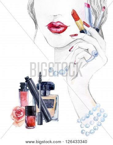 Watercolor beautiful face. woman portrait with lipstick in the hand. Essential makeup must-haves. Hand painted watercolor fashion background