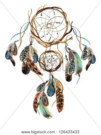Dreamcatcher with feathers isolated on white background. Watercolor ethnic dreamcatcher. Hand painted illustration for your design