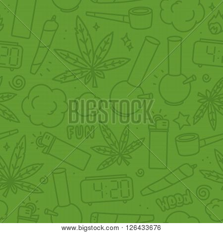 Marijuana weed nature cartoon seamless vector pattern green