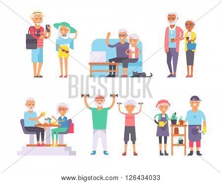 Geriatric care pensioners retirees and happy senior woman elder age characters vector illustration.