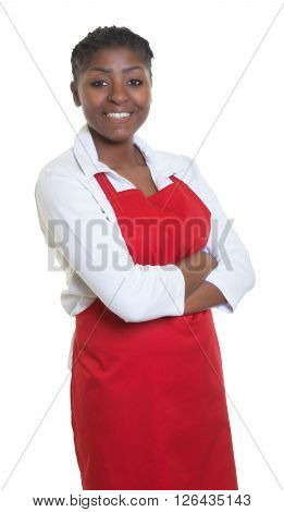 African american waitress with crossed arms on an isolated white background for cut out