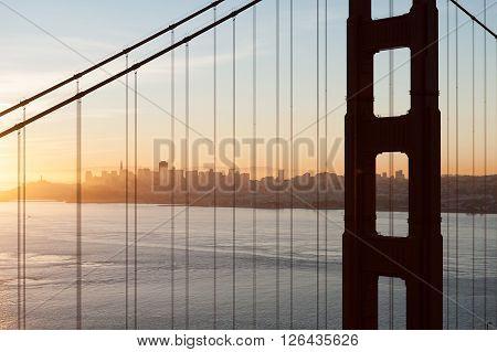 San Francisco at sunset through the Golden Gate Bridge