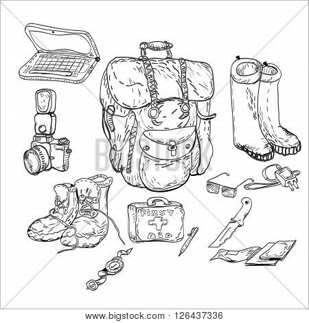 Travel background and survival kit, drawing in doodle style in black and white