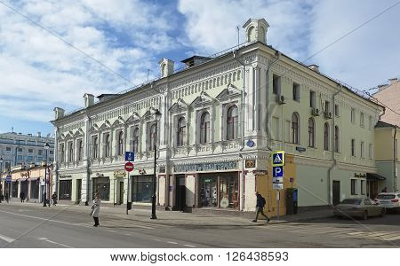 MOSCOW, RUSSIA - MARCH 28, 2016: Residential building (base of the wing urban estate) 1871 architect V. Barkov the object of cultural heritage Pokrovka Str. House 1/13/6 Building 2 landmark