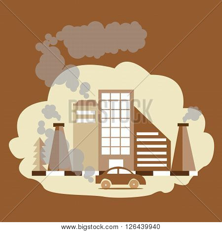 carbon monoxide dioxide air pollution CO CO2 factory smoke from chimney brown