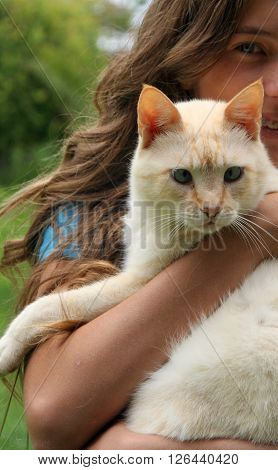 cat girl animal kitten white fluffy daughter beautiful model kind happy joy love