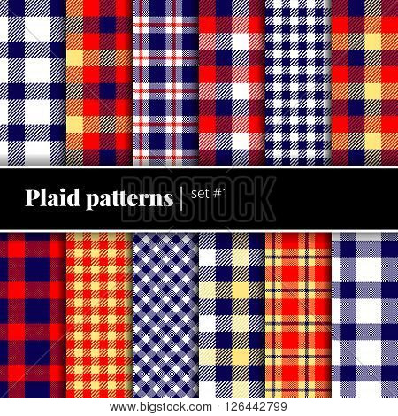 Collection of seamless plaid patterns. Vector backgrounds. Set  1. See also other sets
