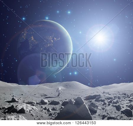 Earth as seen from a Moons surface  Elements of this image furnished by NASA.
