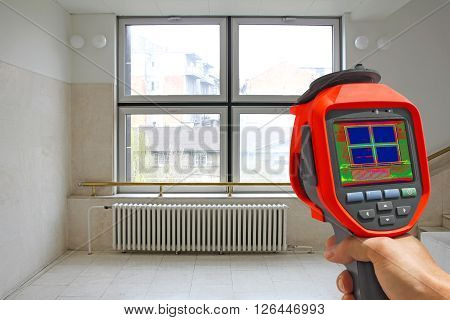 Recording Radiator Heater and a window on a building using Infrared Thermal Camera