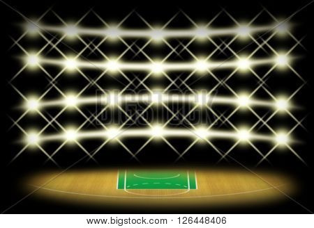 Basketball court in dark with spotlight background which free throw zone is green color. Illustration for use about spot concept