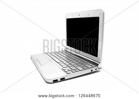 netbook with black monitor on a white background isolated