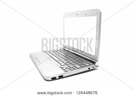 netbook with white monitor on a white background isolated