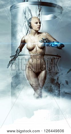 beautiful woman robot smashes glass flask cyborg laser