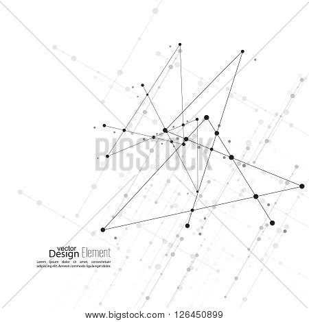 Virtual abstract background with particle, molecule structure. The intersecting diagonal lines with dots. Black and white, sepia. Science and connection concept. The database information transfer