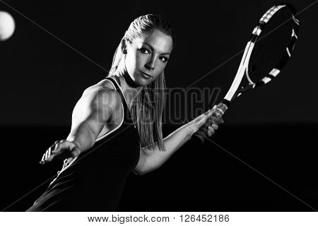Woman Playing Tennis Waiting Tennis Ball