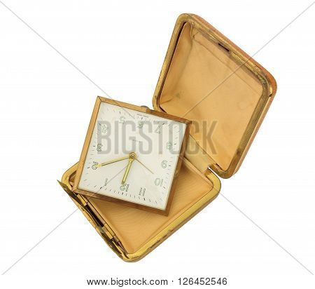 Broken Old Travel Clock isolated on white with clipping path