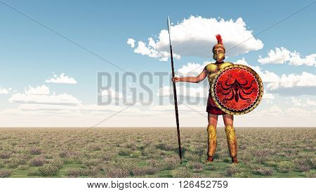 Computer generated 3D illustration with a hoplite of ancient Greece