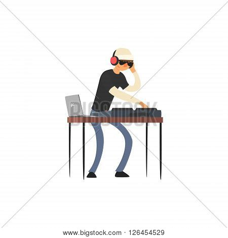 Club Dj Vector Illustration In Primitive Cartoon Childish Style Isolated On White Background