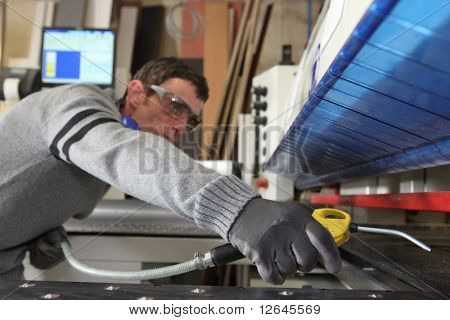 Laborer in workshop
