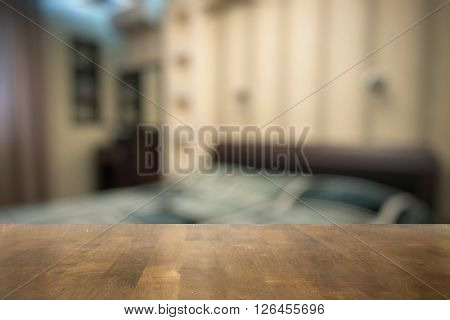 old wooden table in the bedroom
