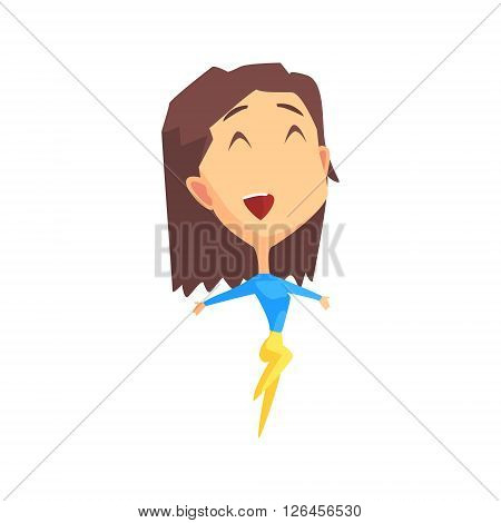 Brown Hair Female Character Rejoicing Primitive Geometric Design Flat Isolated Vector Image