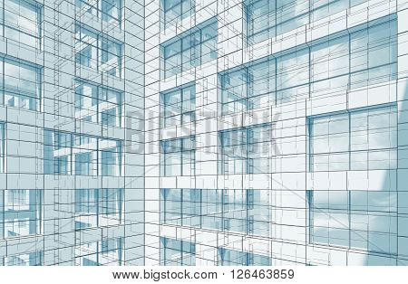 Blue Abstract Modern Architecture Background