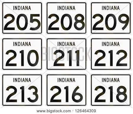 Collection Of Indiana Route Shields Used In The United States