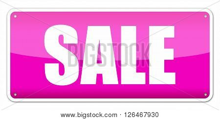 Pink card SALE isolated over white background