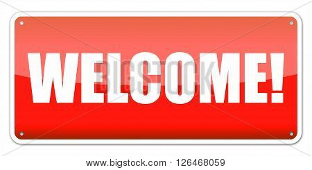 Red card Welcome isolated over white background