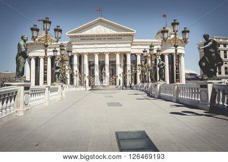 SKOPJE MACEDONIA - APRIL 14 2016: Macedonian archaeological museum in Skopje Macedonia