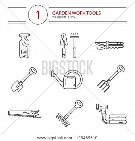 Vector modern line style icons set of garden work tools: secateurs, spray, watering can, shovel, rake, fork, saw. Gardening and agriculture concept.