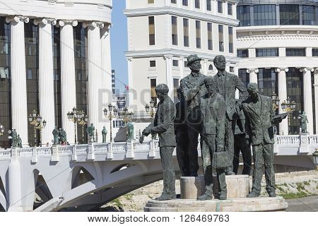 Monument Of The Boatmen Of Salonica In Skopje - Macedonia