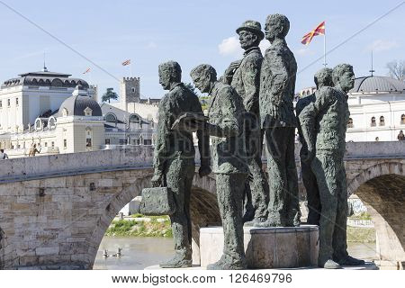 Monument of the Boatmen of Salonica in Skopje - Macedonia poster