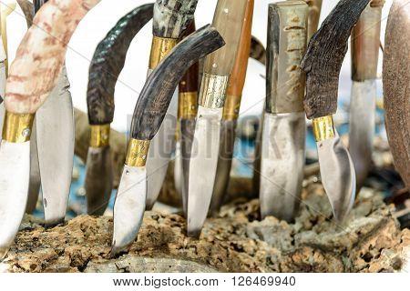 Artigianal Sardinian knives with handle in horn bone built by craftsman cutler.