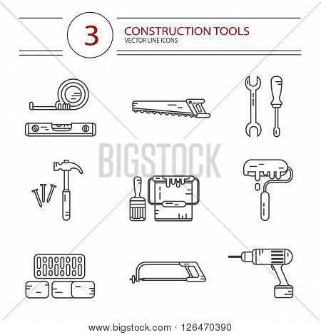 Vector modern line style icons set of construction tools: hammer and nails, screwdriver, wrench, pliers, paint roller, paint bucket, brush, drill, tape line, scale, bricks, saw, hacksaw.