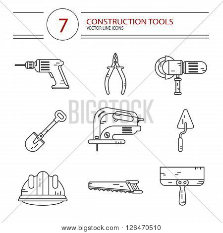 Vector modern line style icons set of construction tools: pliers, drill, spatula, helmet, shovel, saw, electric jig saw, angle grinder. Isolated on white background.