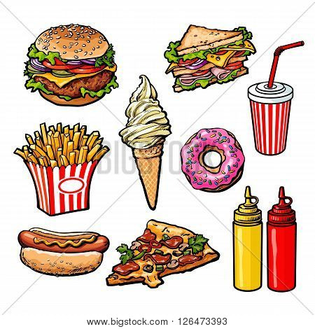 set fast food meal, vector sketch hand-drawn elements of fast food, ice cream burger, sandwich, soda lemonade, ponchos, pizza hot dog french fries, sauces, ketchup and mustard, fast food ready icons