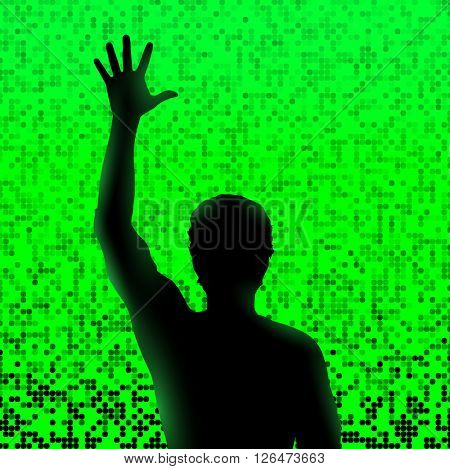 Silhouette of man with raised hand