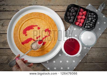 Sponge Cake Moisten With Red Liquor
