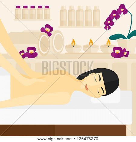Woman recieving massage.
