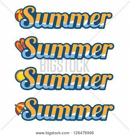 Summer text with flip flops ball umbrella and sun