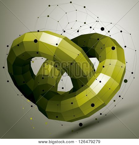 Vector Digital 3D Abstraction, Geometric Polygonal Element. Spatial Technological Colorful Shape, Pe