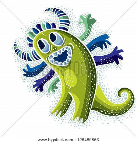 Vector cool cartoon happy smiling monster simple weird creature. Clipart mythic character for use in graphic design and as mascot.