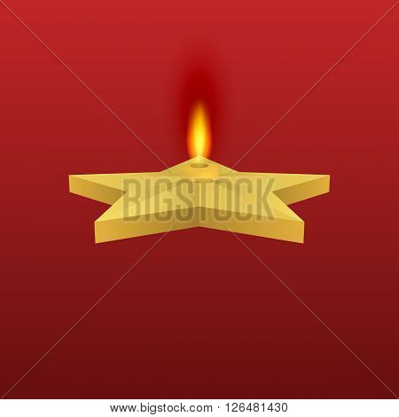 Vector illustration of a gold star with fire. Eternal flame.